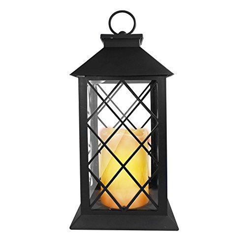 Eaxus®️ Laterne mit warmweißer LED Kerze. Garten & Wohnzimmer Deko Lampe mit Flammeneffekt