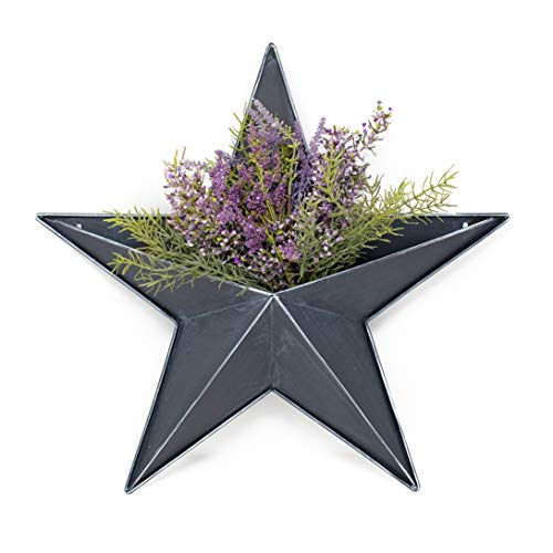Hanging Metal Star Wall PLANTERS – 20″ Black barn Pocket Stars Great for Indoor Outdoor Planter pots for Succulent Faux Flowers Strawberry or herb Garden Buckets. Rustic Country Farmhouse Decor.
