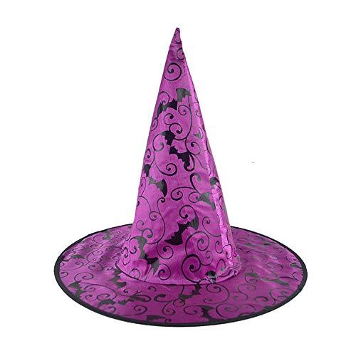 Sombrero de Bruja para Mujer Adulto Bat 1Pcs para Accesorio de Disfraces de Halloween Gorra de Bruja con Patrón de murciélago