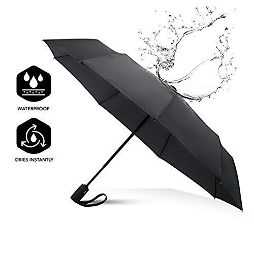 Winddichte paraplu Compact, snel drogen, stevig [9 ribben] waterdicht versterkte frame, automatisch openen en sluiten, antislip handvat, golf, zak, Travel paraplu (UK-UNIQUE)