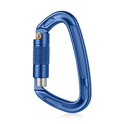 Zubehör Camping Hängematte Klettern Rappelling Werkzeug Verriegelung Clip 24 KN Karabiner Twist Verriegelung Tor D-Ring Schnalle Auto Lock, blau
