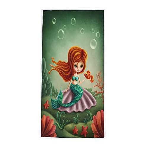 Toalla de mano de burbuja de sirena del océano, toalla de mano suave absorbente y con punta de los dedos multiusos para baño, habitación de invitados, cocina, hotel, piscina, spa, gimnasio, 38 x 76 cm