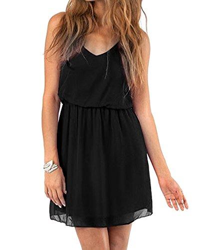 Cassiecy Damen Sommerkleid Ärmellos V-Ausschnitt Chiffon Casual doppel Schulterrieme Elegant Minikleid Partykleid (Schwarz M)