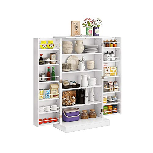 Function Home 41  Kitchen Pantry, Farmhouse Pantry Cabinet,Storage Cabinet with Doors and Adjustable Shelves in White