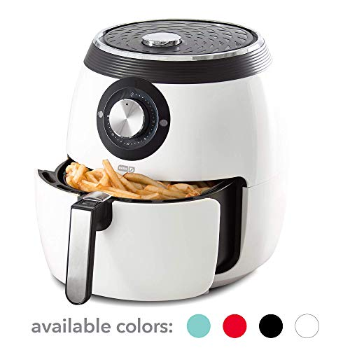 Dash DFAF455GBWH01 Deluxe Electric Air Fryer + Oven Cooker with Temperature Control, Non Stick Fry Basket, Recipe Guide + Auto Shut Off Feature 6 qt White (Renewed)