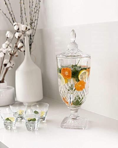 Klarglas Saftspender mit Hahn und Deckel 3L | Glas Wein Dosen Getränkespender Saft Bier Kaffee Getränk Familie Bar Party | Limonade - Wasserspender Getränkespender | 17x13x48 cm