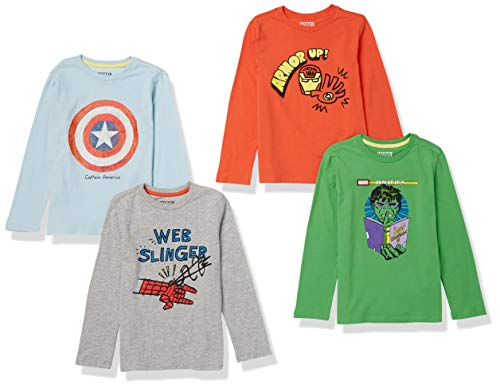 Spotted Zebra Disney Star Wars Marvel Long-Sleeve T-shirt, 4er Pack, Marvel Icon...