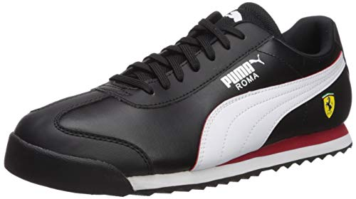 PUMA Men's Ferrari Roma Sneaker, Black White-Rosso Corsa, 10.5 M US