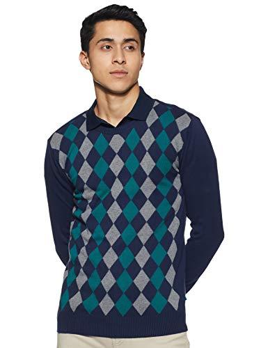 United Colors of Benetton Men's Cotton Sweater (17A1CTNJ1017I902EL_Blue_EL)