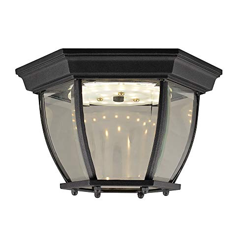 Design House 578518 Canterbury II Integrated LED Outdoor Light with Clear Glass for Porch Entryway Patio, Ceiling, Black