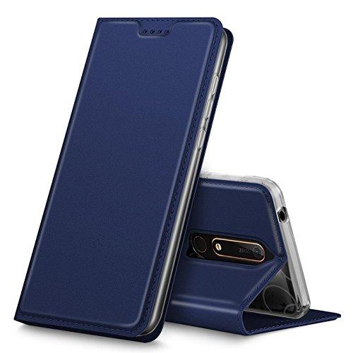 Conie EF25612 Electroplated Flip Hülle Kompatibel mit Nokia 6 2018, PU Leder Hülle Flip Wallet Cover Kartenfächer Standfunktion Magnetisch für Nokia 6 2018 Etui Dunkelblau