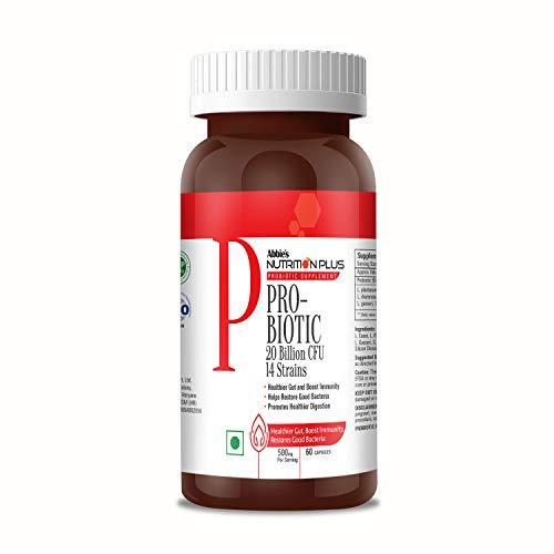 Abbie's Nutrition Plus PRO-BIOTIC 20 Billion CFU 14 Strains for Healthier Gut, Boost Immunity, Promotes Healthier Digestion Health Supplement, 500 mg, 60 Capsules