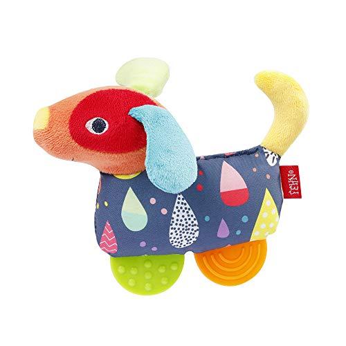 Fehn 055283 Greifling Hund mit Beißer COLOR Friends – Babyspielzeug mit Rassel, Quietsche und Soft-Beißer für Babys und Kleinkinder ab 0+ Monaten – Größe: 16 cm
