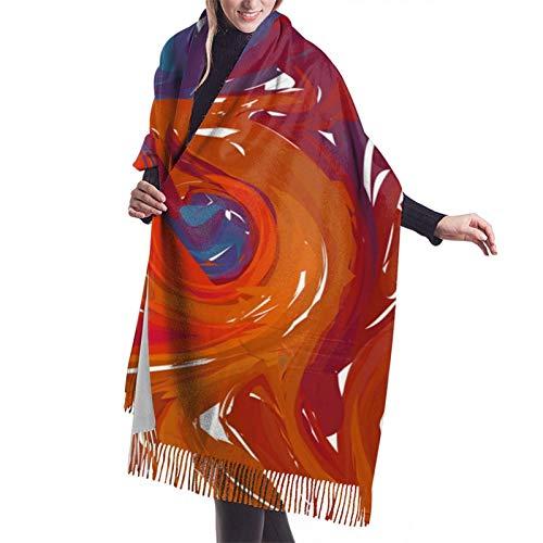 Damen-Schal aus Kaschmir, mit Quasten, mehrfarbig, 3D-Muster, für den Winter, superweich, warm, gemütlich, für Damen, Mädchen, Herren