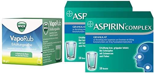 Sparset Erkältung Wick VapoRub 50 g Erkältungssalbe + Aspirin Complex 2 x 10 Beutel