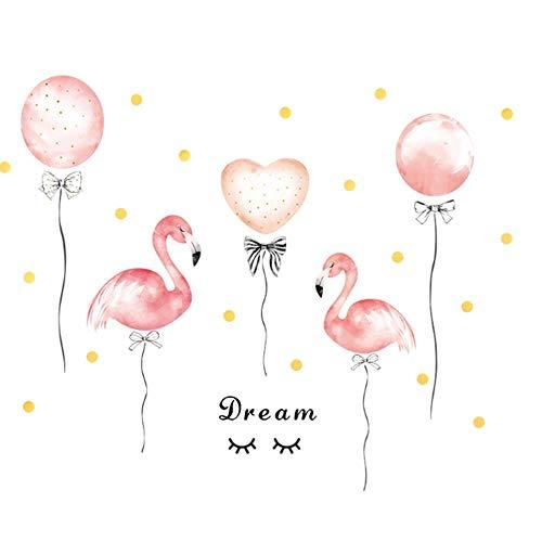 GHJL Schlafsaal Mädchen Zimmer Ballon Rosa Wandaufkleber Warme Schlafzimmer Wohnkultur DIY Selbstklebende Kleiderschrank Aufkleber