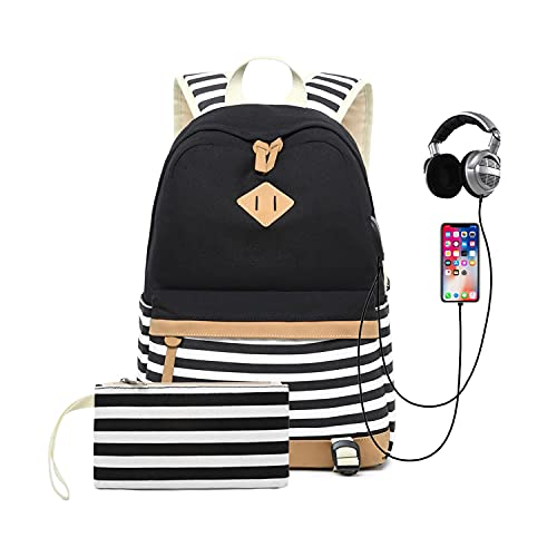YULLING Striped Backpack College Student School Canvas Rucksack Casual...