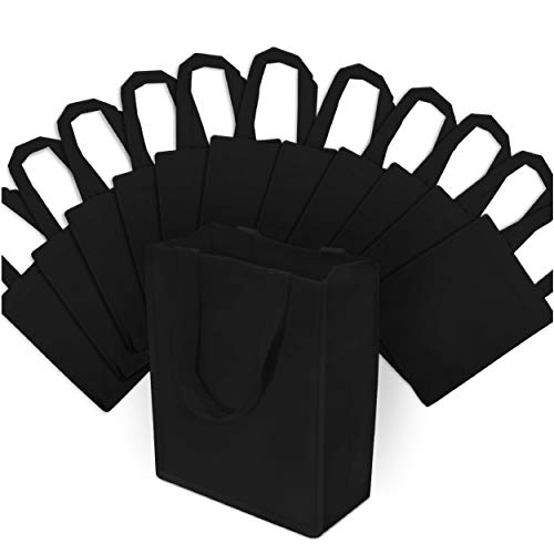 Small Black Reusable Gift Bags, Shopping Bags with Handles, Grocery Bags, Fabric Tote Bags, Merchandise Bags, Foldable, Strong and Eco Friendly 12 Pcs. 8x4x10'