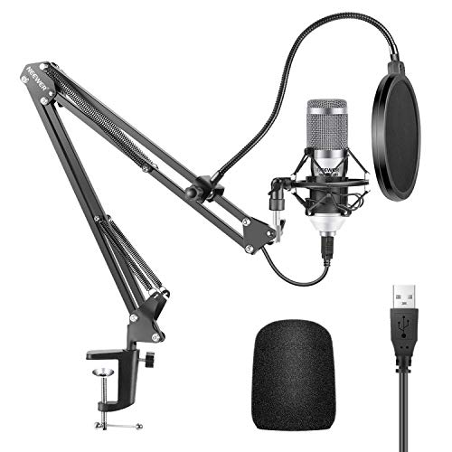 Neewer Micrófono USB Kit 192KHZ/24BIT Plug&Play Ordernador Cardioide Mic Podcast Micrófono de Condensador con Chipset Sonido Profesional para YouTube Soporte Brazo Montaje Choque(Blanco)(NW-8000-USB)