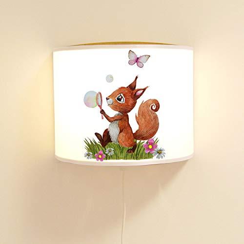 Ilka parey Applique Murale pour Chambre d'enfant avec Motif d'écureuil Mignon avec Bulle de Savon et Lampe Papillon