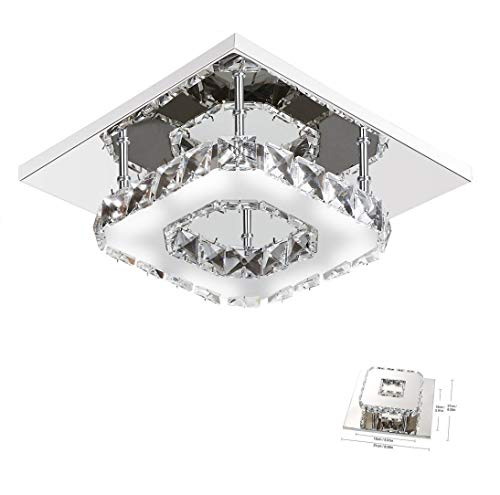 Lámpara de techo de cristal Lámparas de techo Espejo de acero inoxidable moderna lámpara de cristal, 12W LED