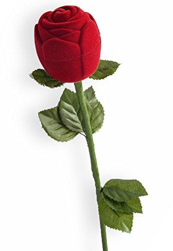 EYS JEWELRY Rose Schmuck-Etui für Ring 43 x 200 x 43 mm Samt rot Ring-Box Schachtel Schatulle Geschenk-Verpackung