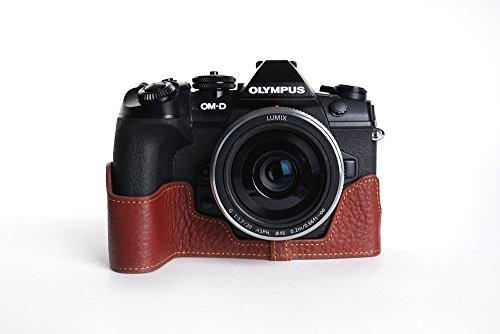 OLYMPUS オリンパス E-M1 mark ii EM1II 用本革カメラケース 別注カラー (カメラケース&ストラップLK81&バッテリーケース, ブラウン)