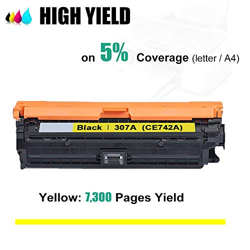 Kolasels Compatible Toner Cartridge (1-Pack, Yellow) Replacement for HP 307A CE742A Toner to use with Color Laserjet CP5200 CP5225 CP5225dn CP5225n CP5220 Printer (High Yield) Photo #3