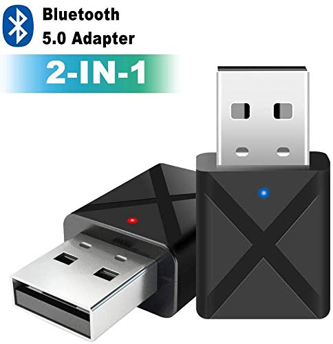 Adaptador Bluetooth 5.0 USB Dongle,2 en 1 Bluetooth Transmisor y Receptor con Audio Inalámbrico 3.5MM Cable, para TV y PC, Audio del Automóvil