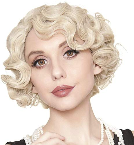 Kaneles Short Blonde Curly Wig Finger Wave Synthetic Hair for Women 1920s Halloween Cosplay Costume Party Come with Wig Cap