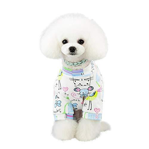 ZEZKT Mascota Primavera y Verano impresión Vestido Trajes de Perro Ropa de Mascota Ropa casera para Perros y Gatos Disfraz de Mascota Linda de Dibujos Animados 5