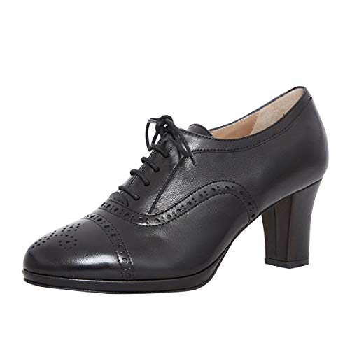dirndl + bua Damen Dirndl-Schuhe Pumps Agnes in Schwarz Trachten-Schuhe, Schuhgröße:36 EU, Farbe:Schwarz