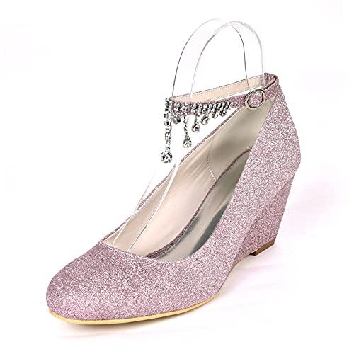 6.5cm Zapatos de Tacón para Mujer, Sexy Pedrería Zapatos de Boda Material...