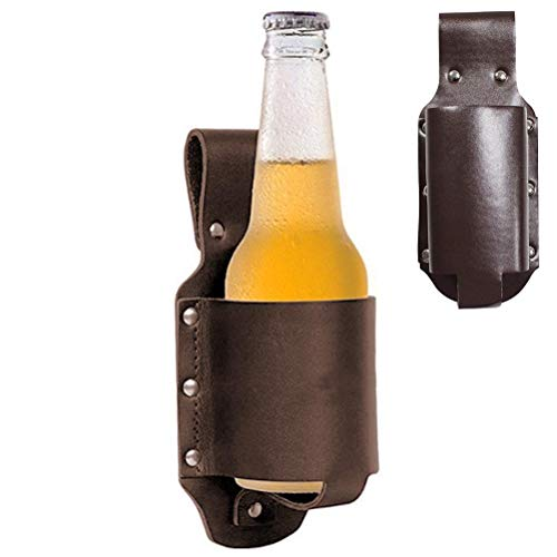 Urisgo Étui à bière Classique en Cuir Étui à Bière Cowboy Étui à Bière Portable Ceinture Couvercle en Verre de Couverture de Bière Personnalisé et Portable