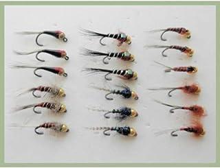 verschiedene Muster und Farben Gr/ö/ße 10 zum Fliegenfischen Wurm-Fliegen 24 St/ück