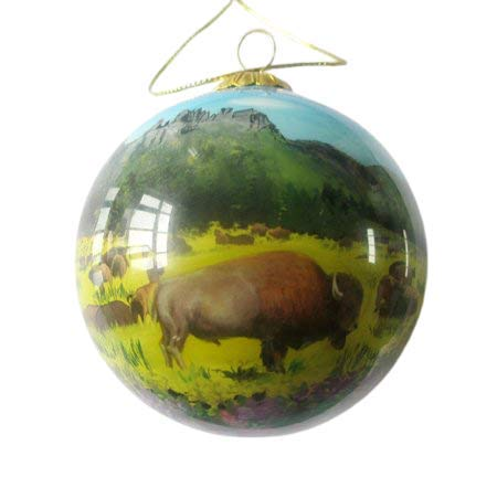 Hand Painted Glass Christmas Ornament - Buffalo Herd by Mountains Yellowstone