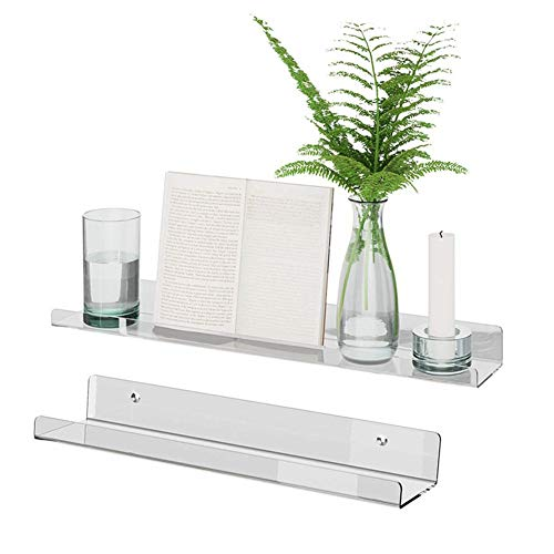 Kapokilly Floating Acrylic Wall Shelf, Wall Mounted Spice Rack A