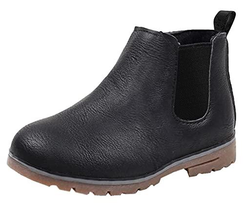 DADAWEN Boy's Girl's Waterproof Side Zipper Short Ankle Winter Snow Boots Black US Size 6.5 M Toddler