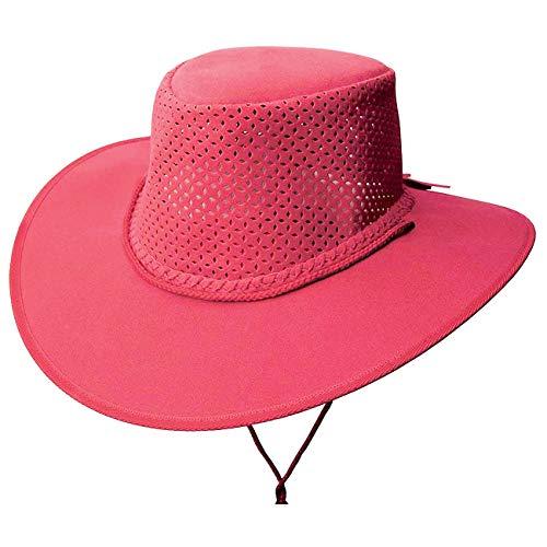 Kakadu Traders Australia - Cappello estivo leggero con cappello perforato, tesa larga e sottogola rosa hot L