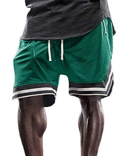 Gafeng Mens Basketball Gym Running Shorts Workout Elastic Waist Drawstring Quick-Dry Mesh Shorts with Zipper Pocket Green