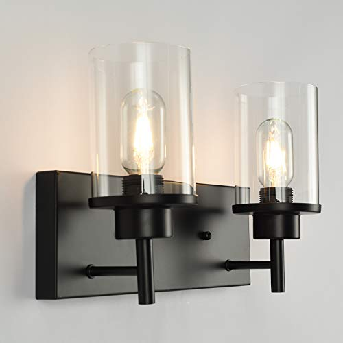GOODYI Vintage Industrial Black Sconces 2-Light,Farmhouse Light Fixture Bathroom Vanity Lights Hallway Lamp Sconces Wall Lighting Rustic Accessories Light Fixture with Clear Glass Shade