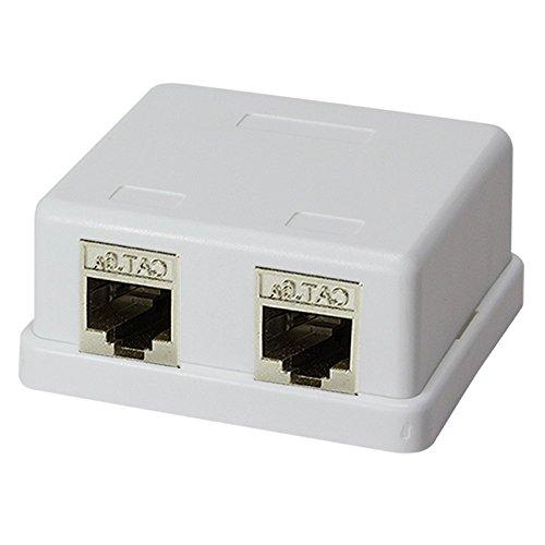 Faconet® Keystone Aufputz Leerdose für 2 Keystone Buchsen inkl. 2x Cat. 6A STP RJ45 Lan Ethernet Einbaubuchsen