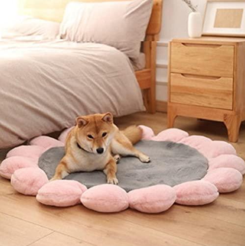 Cojín para dormir para perro, almohadilla para dormir para mascotas, alfombra para el suelo, alfombrilla para dormir sofá nido, almohadilla para dormir de flores redondas-Gray_L_diameter 110_cm