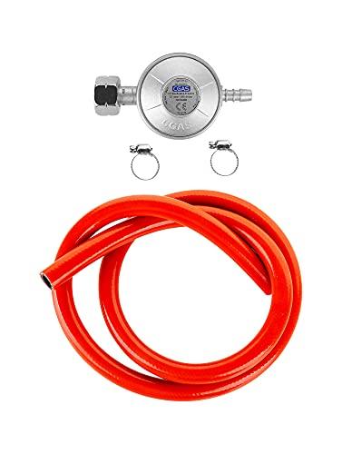 teesa TSA0094 Juego de Conexión Propano-Butano Regulador de Gas Manguera de 1 m Juego Completo, Placas de Cocción, Hornos, Parrillas y Otros, 37 mbar
