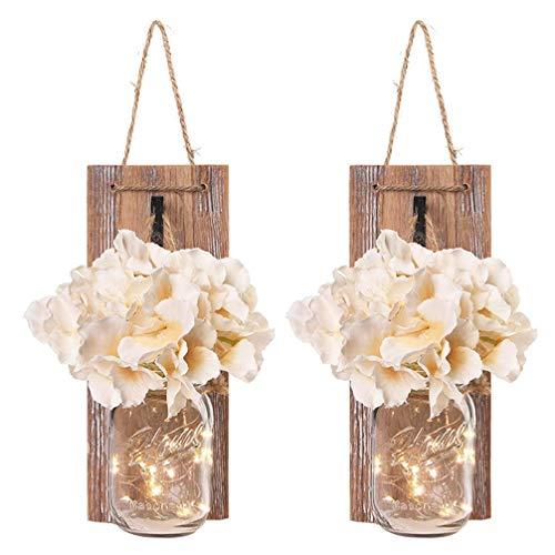 WINOMO Einmachglas Wandleuchten mit LED Lichterketten Künstliche Blumen Holz Rustikale Vintage Hängeleuchten Wohnkultur Wanddeko für Wohnzimmer Landhaus Bauernhaus Dekoration