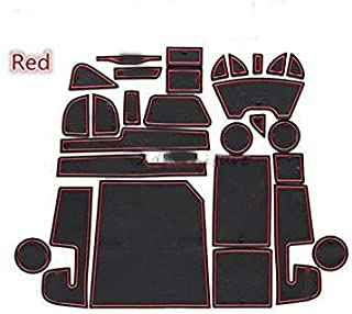 FMtoppeak 27 Pcs Non-Slip Gate Slot Pad Storage Water Coaster Car Pad Cushion Cup Mat for Jeep Cherokee 2014-2017 with Logo (Red)