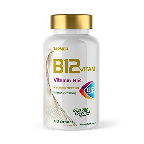 Jarmor Vitamina B12 1000mcg Integratore Alto Dosaggio Capelli e Sistema Immunitario Forti 60 capsule Vegan
