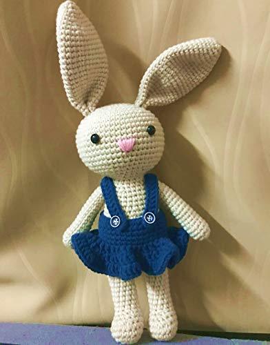 HYST Pastel Rabbit Handmade Amigurumi Stuffed Toy Knit Crochet Bunny Animal Toy (Dark Blue Dress)