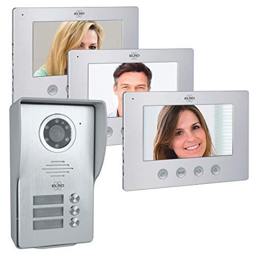 ELRO Türklingel DV477W3 3-Familien Video Türsprechanlage mit 3 Farbdisplay, Kamera mit Nachtsicht, 4-Draht Technik, 16 Klingeltöne, Grau, One Size