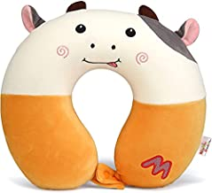 Niuniu Daddy Kids Travel Neck Pillow for Airplane, Car Seat, Road Trip - Neck, Chin Supporting - Stops Head from Flopping Forward - Memory Foam Insert and Cute Cow Print Animal Pillow Cover - Washable